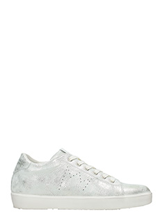 Leather Crown-Sneakers Low in pelle laminata argento