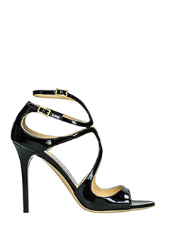 Jimmy Choo-Lang black patent leather sandals