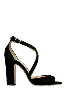 Jimmy Choo-Sandali Carrie 100 in suede nero