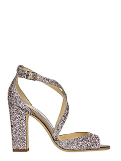 Jimmy Choo-Sandali Carrie 100 in glitter rosa