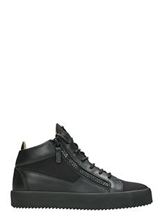 Giuseppe Zanotti-Sneakers Mid in pelle e tessuto nero