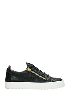 Giuseppe Zanotti-Sneakers Low in pelle nera stampa pitonele