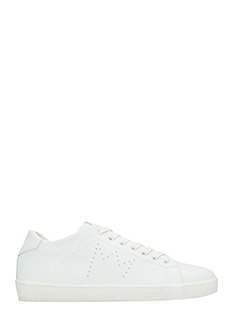 Leather Crown-Sneakers Low in pelle bianca