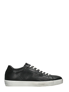Leather Crown-Sneakers Low in pelle nera