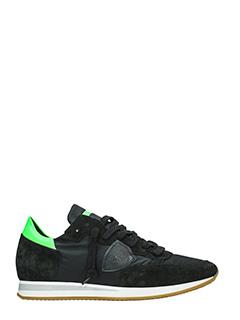 Philippe Model-Sneakers Tropez in camoscio nero verde