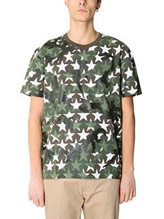 Valentino-T-Shirt Camoustars in cotone verde
