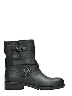 Julie Dee-black leather combat boots