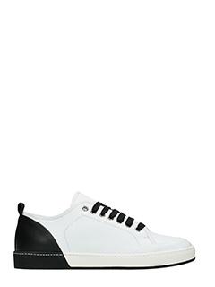 Jil Sander-Sneakers in pelle bianca nera