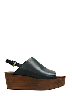 See by Chlo�-Lercara black leather wedges