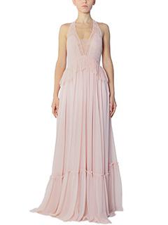 Givenchy-Vestito lungo in seta e pizzo pink