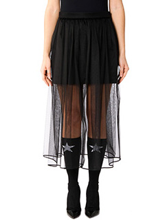 Givenchy-Gonna in crepe e tulle nero