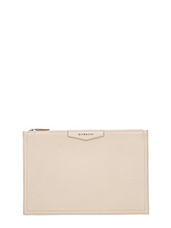 Givenchy-Antigona p Large pink leather clutch