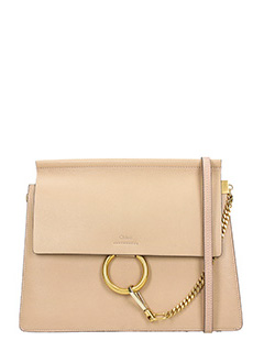 Chloé-Borsa Faye Media in pelle beige