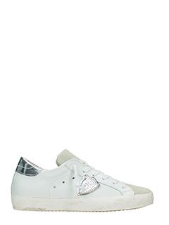 Philippe Model-Sneakers Classic in pelle e camoscio bianco argento
