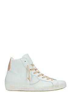 Philippe Model-Sneakers Classic High in pelle bianca beige