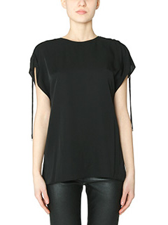 Theory-Malkara black silk Blouse