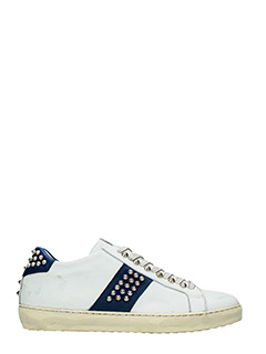 Leather Crown-Sneakers Low in pelle bianca blue
