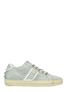 Leather Crown-Sneakers Low in camoscio grigio