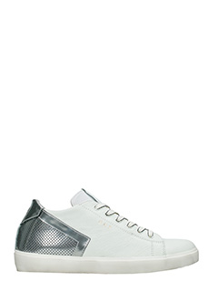 Leather Crown-Sneakers Low in pelle argento bianca
