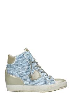 Philippe Model-Sneakers Las Vegas in pelle oro e tessuto azzurro