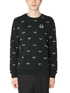 Kenzo-Felpa Eyes All Over in cotone nero