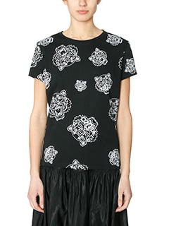 Kenzo-T-Shirt Tiger All Over in cotone nero