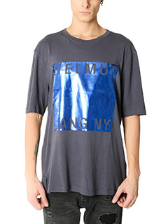 Helmut Lang-T-Shirt Film Logo in cotone blue