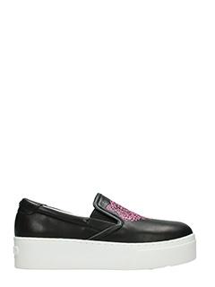 Kenzo-Sneakers Slip On Tiger in pelle nera