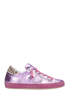 Philippe Model-Sneakers Classic in pelle metal fucsia