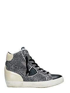 Philippe Model-Sneakers Las Vegas in pelle e tessuto bianco nero