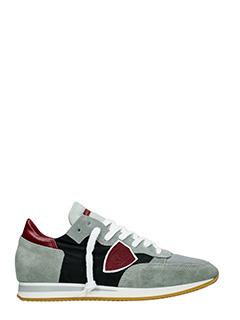 Philippe Model-Sneakers Tropez in camoscio e tessuto grigio  nero