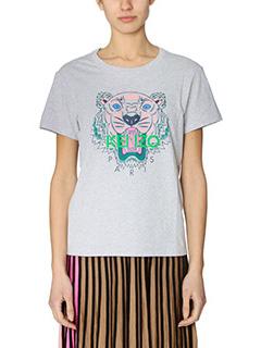 Kenzo-T-Shirt Tiger in cotone grigio