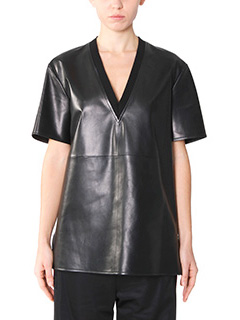 Givenchy-T-Shirt in pelle e cotone nero