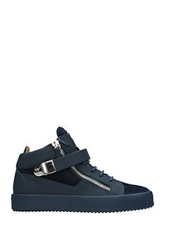 Giuseppe Zanotti-Sneakers Mid in pelle e camoscio blue