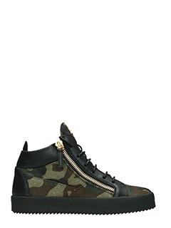Giuseppe Zanotti-Sneakers Mid in tessuto camouflage verde