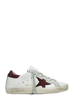 Golden Goose Deluxe Brand-Sneakers Superstar in pelle bianca bordeaux