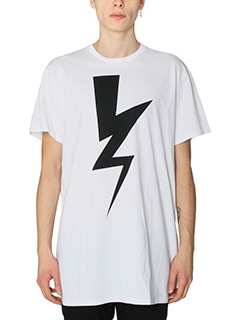 Neil Barrett-T-Shirt Lightning Bolt in cotone bianco