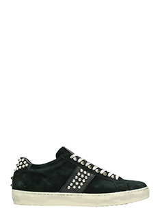 Leather Crown-Sneakers Low in camoscio nero