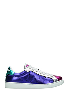 Dsquared 2-Sneakers Santa Monica in pelle laminata viola argento