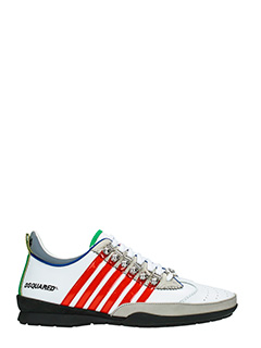 Dsquared 2-Sneakers 251 in pelle bianca rossa