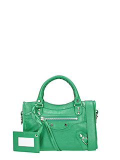 Balenciaga-Clas Mini City green leather bag