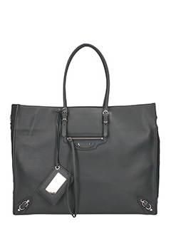 Balenciaga-Paper Za A4 grey leather bag