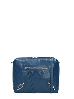 Balenciaga-Class reporter blue leather clutch