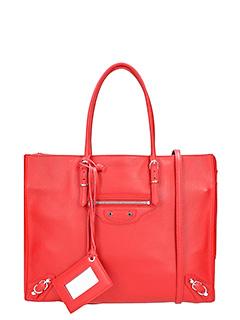 Balenciaga-Borsa Papier Zip B4 in pelle rossa