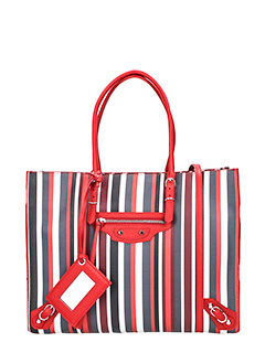 Balenciaga-Borsa Papier Zip B4 in pelle rosso multicolor