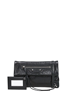 Balenciaga-Clas mini envst black leather clutch