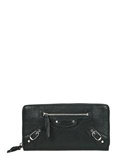 Balenciaga-Portafoglio Classic Continental Giant Zip Around in pelle nera