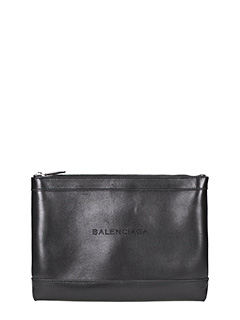 Balenciaga-Navy clip m black leather clutch