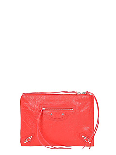 Balenciaga-Class Pouch S red leather clutch