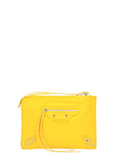 Balenciaga-Class Pouch S yellow leather clutch